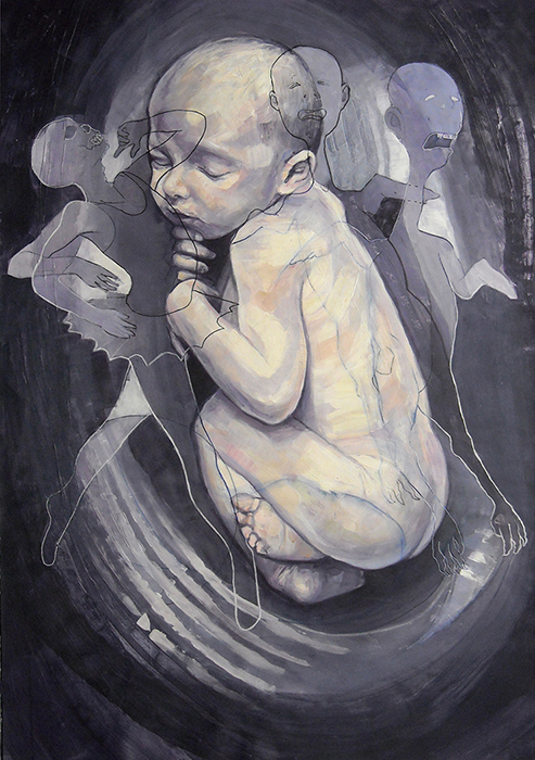 Innocence, acrylic and oil on paper, cm.100x70