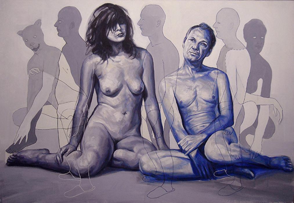 La coppia, acrilico su tela, cm.100x145