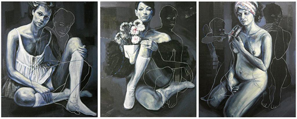 Triptic of women, olio e acrilico su tela cm. 50x60 ciascuno