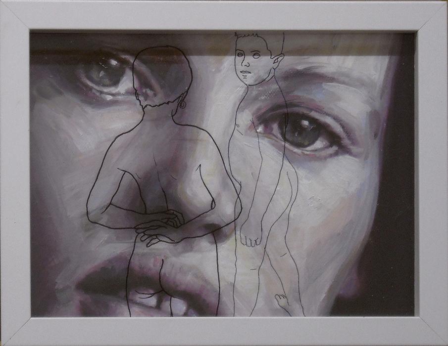 Adolescente,olio e acrilico su tela  cm. 27x21