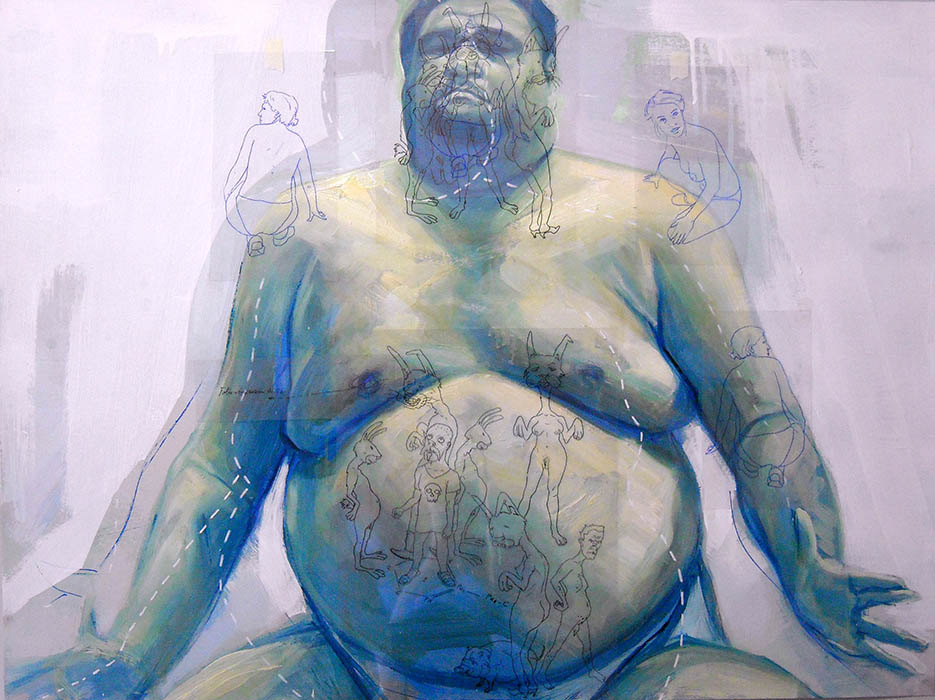 Big Man,acrylic and oil on paper, cm.100x70