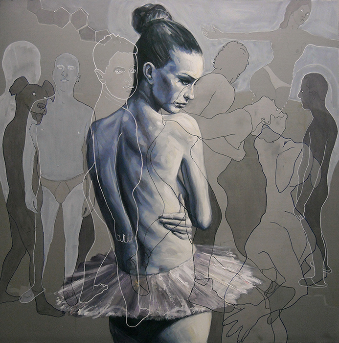 Ballerina cm.100x100-olio e vernici su lamiera