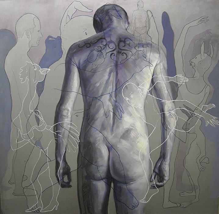 Lui-anonymous Y, cm.100x100-olio e vernici su lamiera