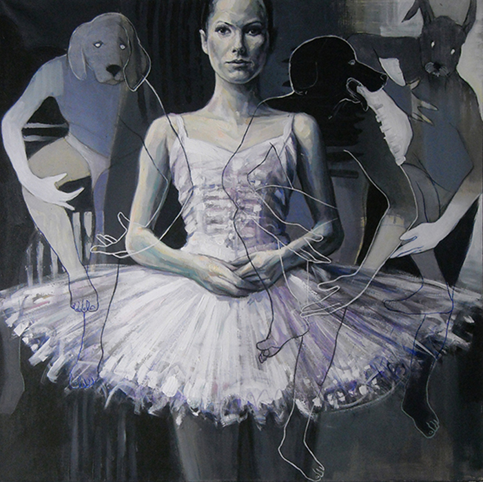 Ballerina,acrylic and oil on canvas, cm. 80x79