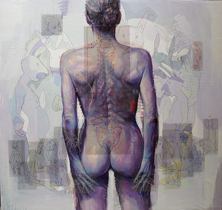 Constantin migliorini, anonimo.nudo,sesso femminile,di spalle ,acrilico, olio su tela e pennarello su acetato, cm.135x145