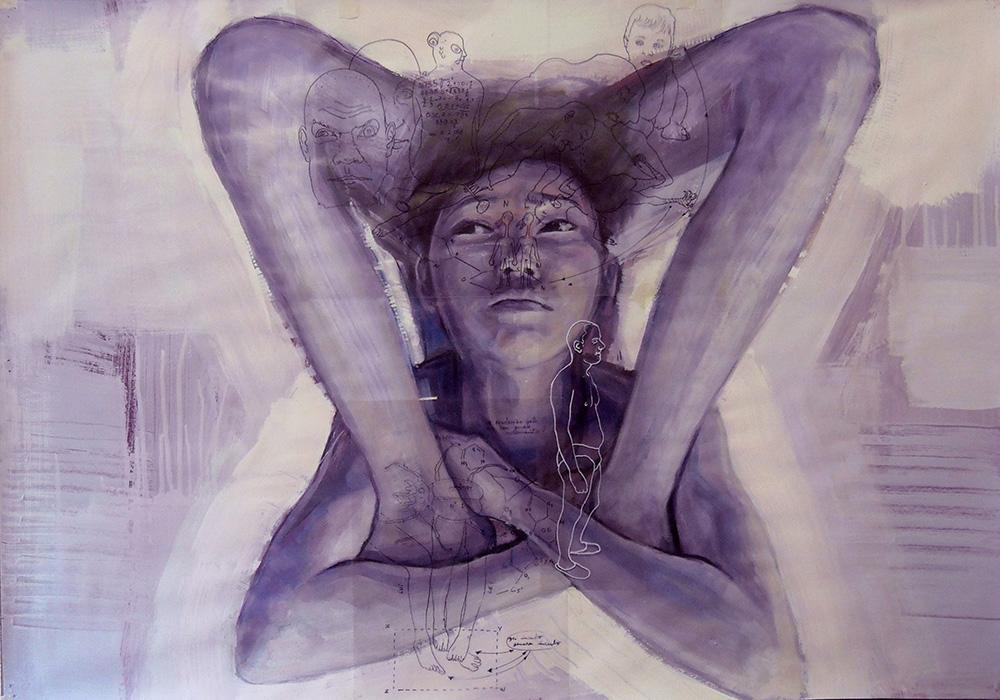 Anonima contorsionista ,acrilico, olio su carta e pennarello su acetato,cm. 100x70