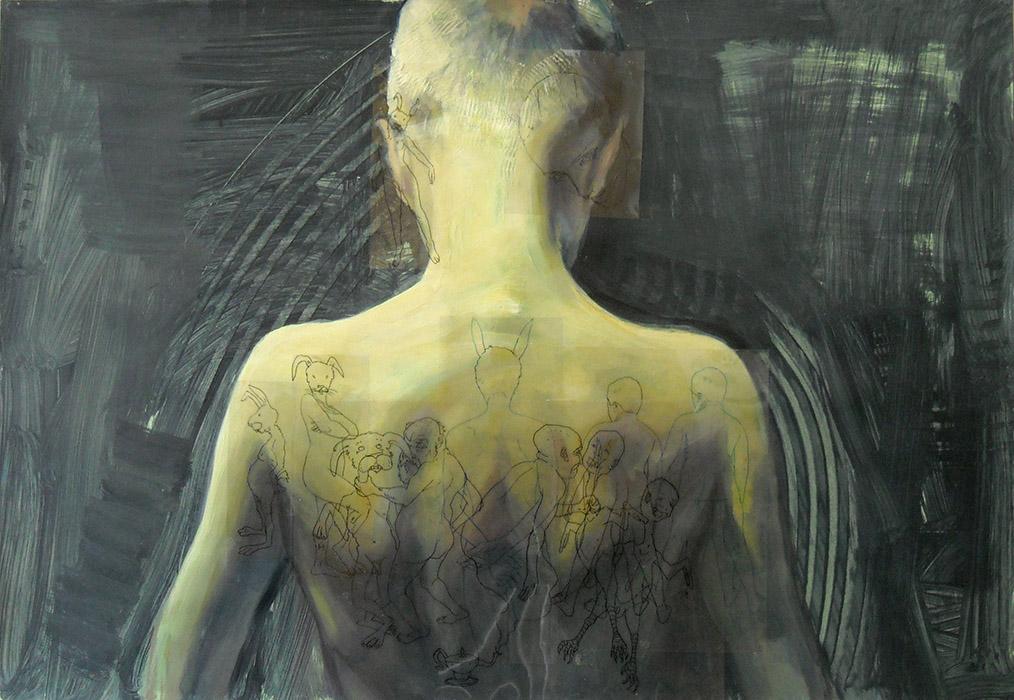 constantin migliorini ,anonimo 15, 2009,acrilico, olio su carta e pennarello su acetato,cm.100x70