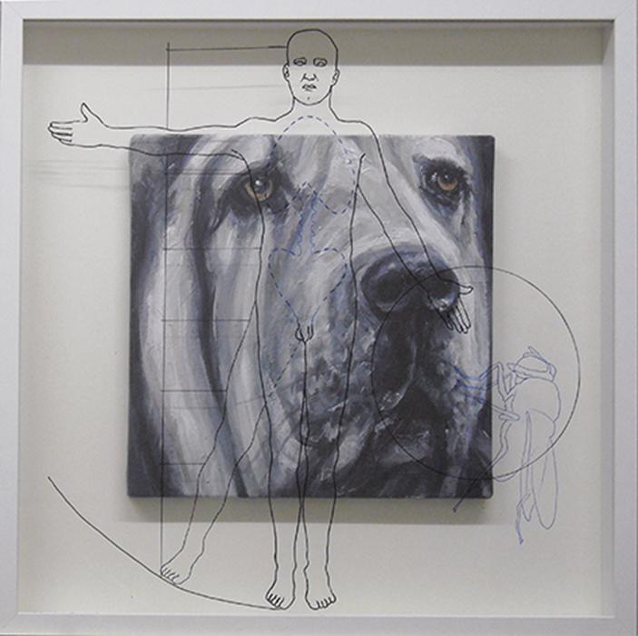 Super-bastardo 6, cm. 52x52-acrilico, olio e pennarello su vetro