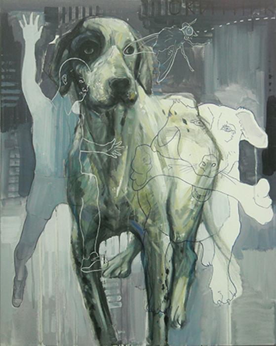 Stray dog, acrilico, olio e tela, cm.100x80