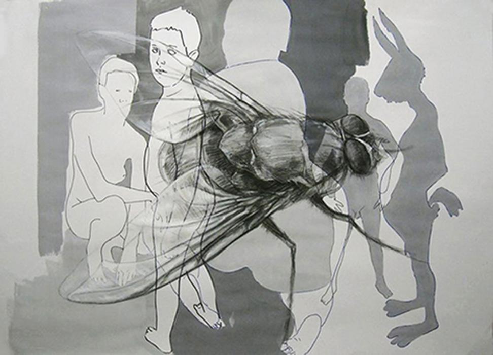 Mosca - acrilico carboncino e pennarello su carta - 100 x 70 - Constantin Migliorini