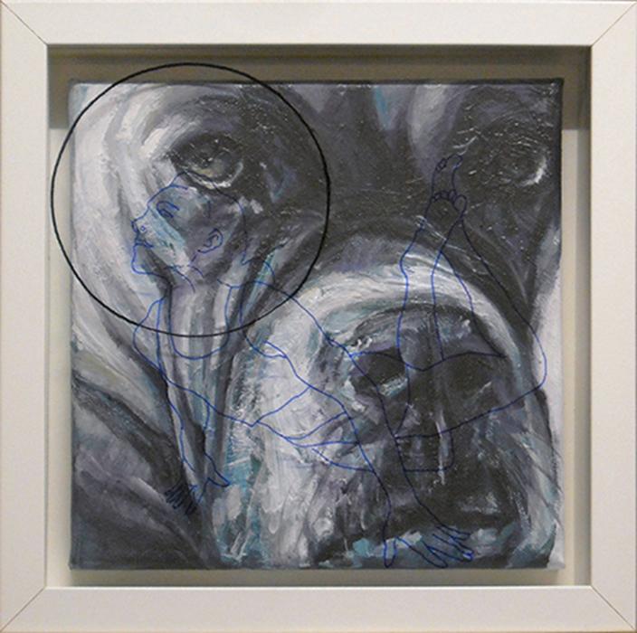 Bastardo 11, cm. 25x25 -acrilico, olio e pennarello su vetro