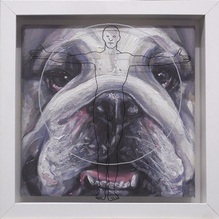 Bastardo 12, cm. 25x25 -acrilico, olio e pennarello su vetro
