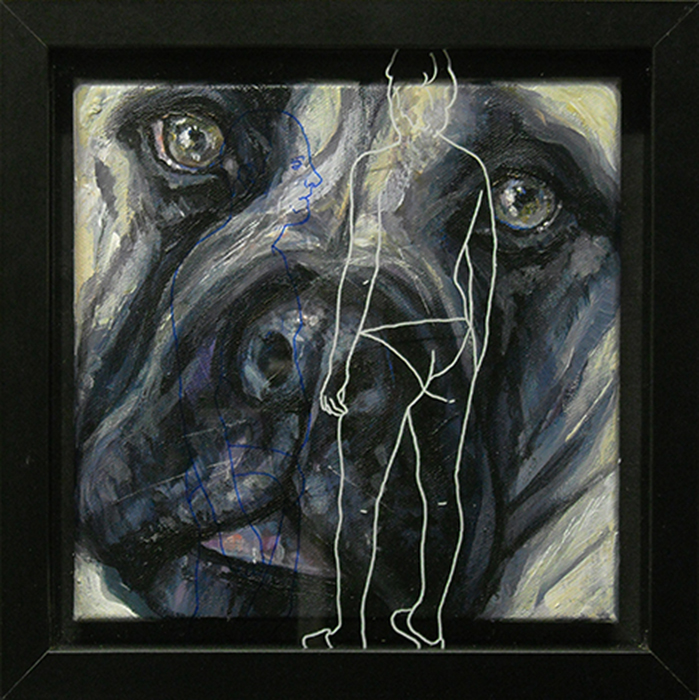 Bastardo 15, cm. 25x25 -acrilico, olio e pennarello su vetro