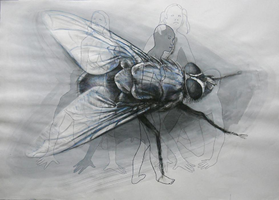 Moscone 1,  acrilico carboncino e pennarello su carta - 100 x 70 - Constantin Migliorini