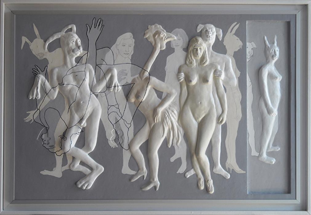 Ossessioni A, bassorilievo, gesso policromo, cm. 87x57