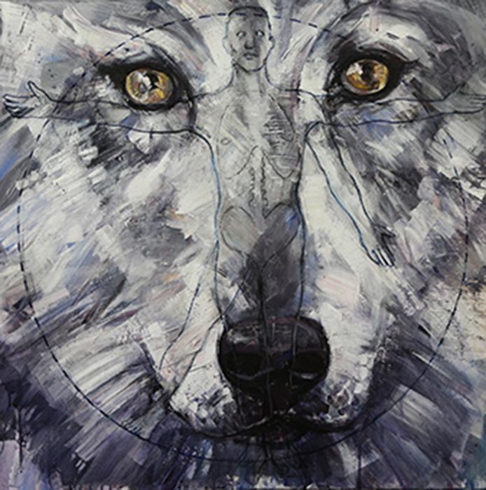 Wolf, cm.90x 90-acrilico, olio e tela